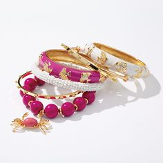 12. Angelfish Enamel Bangle in lotus pink, white, blue oasis or mandarin orange 52065006 $38.50 Colored Stretch Beaded Bracelet with crab pendant, in wild plum, coral reef or sea frost 52065244 $32.50 Set of Three Bangles in sea frost, mandarin orange or posey 52065110 $39.50 Thread-Wrapped Bangle in sea frost, indigo, hibiscus or stucco 52065110 $39.50  Download High-Res Image