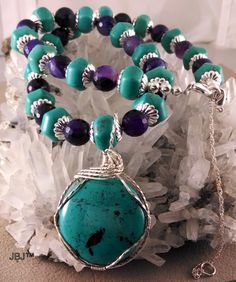 Turquoise Cabochon Wirewrapped Pendant  on a by Jewelrybyjane29, $124.95
