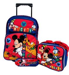 Mickey Mouse Disney Large 16' Rolling Roller Wheeled Backpack Book Bag, Lunch Box & Pencil Case Set!. #Mickey #Mouse #Disney #Large #Rolling #Roller #Wheeled #Backpack #Book #Bag, #Lunch #Pencil #Case #Set!
