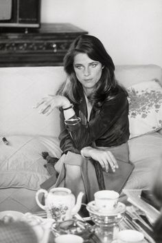 "CHARLOTTE RAMPLING  in her Hotel Suite at the Lancaster in Paris, 1975. She was in Town to attend the Premiere of ""Chair de l'orchidee/Flesh and the Orchid"" in which she stars and return soon to the Riviera to continue work on Jackpot with Director Terence Young."