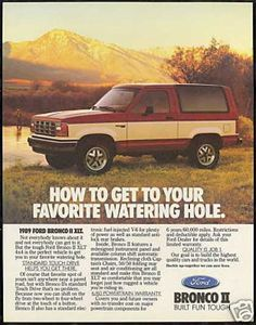 Ford Red White Bronco II XLT 4x4 Truck (1989)