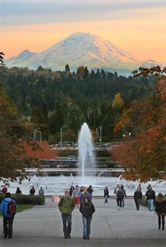 Drumheller Fountain and Mount Rainier - picture perfect