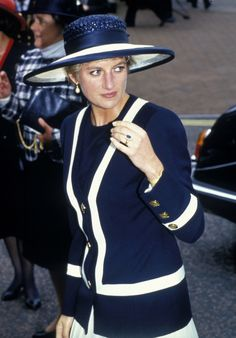 The Princess of Wales leaves Liverpool Cathedral after the commemoration of the Battle of the Atlantic May 30, 1993. She was there with her husband the Prince of Wales. This was one of the first times the couple have been seen together since their separation in December 1992. CMFB #CMFB