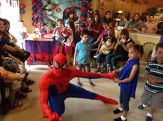 Insect man spins his web at this birthday party