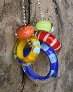 Assorted Glass Lampwork Ring Beads Set by hippkittybeads on Etsy