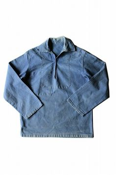 French vintage sailor work shirt/France 1960's/cotton/faded navy/marine/LE FORT-BEAU/267