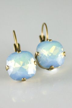 Blue crystal earringsRARE White Opal Star Shine