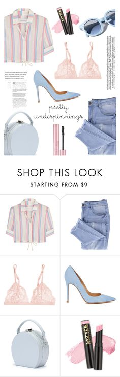 """""""Simple and Chic  #underpinning"""" by londynalei ❤ liked on Polyvore featuring Solid & Striped, Essie, La Perla, Gianvito Rossi, Handle, Pinko and L.A. Girl"""