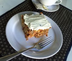 Carrot Cake with Maple Cream Cheese Frosting. No empty calories. Sugar-free, gluten-free and no added oil/butter.