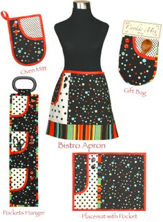 Klassy Kitchen! ensemble of apron, oven mitt, placemat, wall pocket hanger, food gift bag with cookie recipe by Vanilla House, P136.