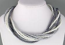 Vintage 70's Multi 10 Strand Gray Grey Glass Pearl Bead Torsade Necklace