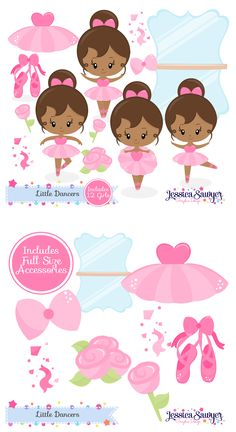 Dark Skin Tone Ballerina Clipart for crafts and products