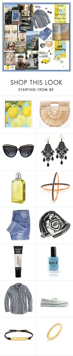 """""""I only agreed to this tour bc I was scouting out shops for shopping"""" by deborah-518 ❤ liked on Polyvore featuring Cult Gaia, Anna-Karin Karlsson, L'Occitane, BaubleBar, Taya, Emilio Pucci, L'Oréal Paris, Lauren B. Beauty, J.Crew and Sperry"""