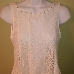 Sexy Lacey Top Classy sexy sheer lace tank top design with beautiful  floral lace alined with sparkling rhinestone crystal Tops Tank Tops