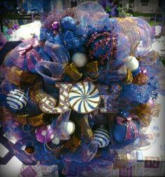 Christmas wreath brown, blue