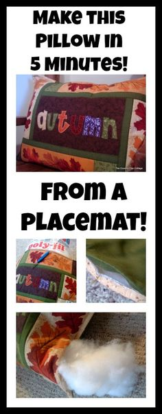 make a pillow from a placemat in 5 minutes!