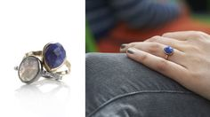 lapis and gold stacking ring