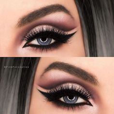 Cut crease and wing ? Yes please . Gorgeous eye makeup to try this summer.