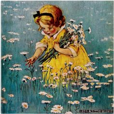Vintage Illustration Jessie Willcox-Smith with a painting of a child picking daisies (Good Housekeeping magazine May Illustrators, Vintage Art, Painting, Illustration Art, Art, Childrens Art, Vintage Pictures, Beautiful Art, Vintage Illustration