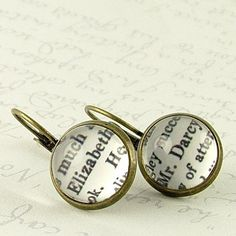 Elizabeth Bennet and Mr Darcy Earrings - Pride and Prejudice - Jane Austen Literary Quote Jewelry