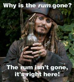 Captain Jack Sparrow and his rum ~ Humour Disney, Disney Memes, Disney Quotes, Funny Disney, Jack Sparrow Funny, Jack Sparrow Quotes, Funny Pictures With Captions, Funny Photos, Face Pictures