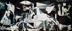 """Guernica, Pablo Picasso. Completed 1937.  """"The raid on Guernica is unparalleled in military history. Guernica was not a military objective. A factory producing war material lay outside the town and was untouched. The object of the bombardment was seemingly the demoralization of the civil population and the destruction of the cradle of the Basque race."""" – George L. Steer, The Times"""