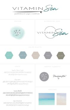 Full branding board I created for Vitamin Sea, a stand-up paddle board yoga company in the Maldives which also offers 7-day retreats that combine SUP yoga, healthy eating, meditation classes and adventure activities in the surrounding paradise of the Maldives. #logo #logodesign #branding #graphicdesign #coworking #girlboss #simple #elegant #minimal #clean #yoga #businesscards #colorpalette #colors #typography