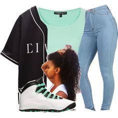 mint green shirt/blue denim pants/ white green black jordans/ and a long white with black baseball shirt
