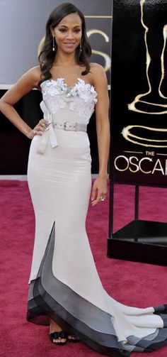 Zoe Saldana in an Alexis Mabille Couture dress, Neil Lane jewelry, shoes by Roger Vivier and a Salvatore Ferragamo clutch. @ Oscars ♥✤ | Keep the Glamour | BeStayBeautiful