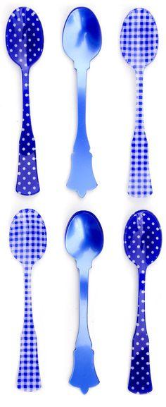 culleres en acrilic diferents estampats en blau