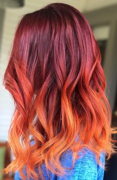 Hair Color Trends for Red Ombre Hairstyles. Ombre hairstyles are still a trend. Today's post will introduce some trendy red ombre hair designs to you Orange Ombre Hair, Best Ombre Hair, Dyed Red Hair, Red Hair Color, Cool Hair Color, Red Hombre Hair, Hair Colors, Fire Ombre Hair, Ginger Ombre