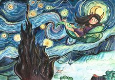 The Starry Night stars in picture book Stars At Night, Culture, Street, Illustration, Artwork, Books, Pictures, Photos, Work Of Art