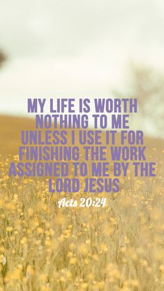 But my life is worth nothing to me unless I use it for finishing the work assigned me by the Lord Jesus–the work of telling others the Good News about the wonderful grace of God. -Acts 20:24