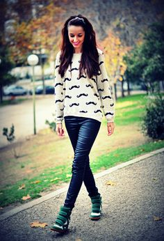 Wedge Sneakers Make Your Outfits Less Boring and mustache sweaters! Adorbs