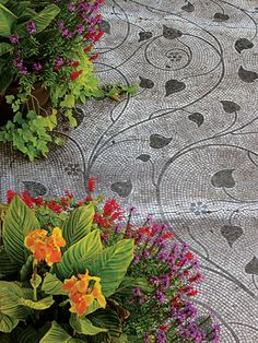 Great Gardens & Ideas - this is mosaic, but would dress up my concrete patio in paint!