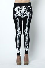 Skeleton bone leggings from Love MelroseThese funky leggings feature a Skeleton bone print on the front side. Plain backside. It doesn't need to be Halloween for you to rock these. Have fun and treat yourself to a pair! Looks great with spiked Litas and layered bangles.