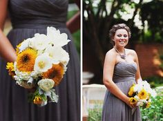Bridesmaid in gray dress with clutch of white and yellow flowers. As a personal touch, the bride requested that the sunflower centers be tinted gold.