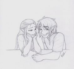 "conversations by LOZ-Elisrilianfan on DeviantArt ~ (i hate titles)  ""Aria have you been in a Zelink mood lately?"" "". . . no."" Just some dorks being dorks. I love them so much. Inspired from this amazing picture drawn by Burdge-bug; 31.media.tumblr.com/38891dc031…"