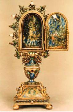 Anonimo orafo lombardo, fine sec. XV, San Sebastiano e san Girolamo, tabernacolo aperto, smalti policromi e argento,  New York, USA, Metropolitan Museum of Art.