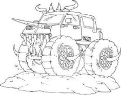 Free Printable Monster Truck Coloring Pages For Kids | Pinterest ...