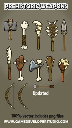 Prehistoric weapon icon collection for creating games Prehistoric Age, Stone Age Art, Early Humans, Icon Collection, Disneyland Trip, Animation, Game Design, Game Art, Art Reference