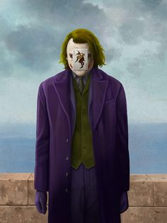 The son of man - Joker - Rene Magritte Inspired Pop Culture Paintings - art Grant Wood, Rene Magritte, Joker Kunst, Pop Art, Heath Ledger, Joker Art, Guernica, The Son Of Man, Arte Pop