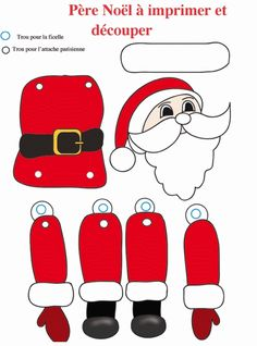 Jouet Père Noël - make a jointed Santa using paper fasteners Christmas Arts And Crafts, Christmas Activities, Christmas Printables, Christmas Projects, Holiday Crafts, Vintage Christmas, Christmas Holidays, Imprimibles Toy Story Gratis, Theme Noel