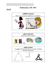 These are picture vocabulary cards to match the vocabulary words Kindergarten through 5th grade students will come across when they take the MAP (Measures of Annual Progress) assessments.  These can be used in a center for independent, small group, or partner work.