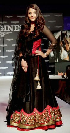 Aishwarya Rai Bachchan in a black ensemble  For more images, click http://www.bigindianwedding.com/CollectionsAndTrends/Lehengas-Sarees/