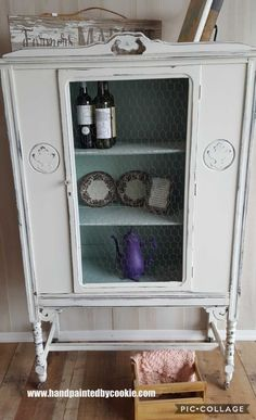 #vintage #painted #chinacabinet #storage #diningroom. Cabinet painted in sherwin williams  white. We replaced the glass with chicken wire. We painted the inside duck egg blue.  #vintagefurniture #paintedfurniture #shabbychic #repurpose #diy #furnituremakeover #upcycle #distressed #farmhouse #rustic #country #cottage #french #frenchcountry