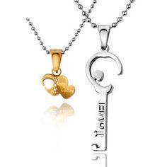 Customizable Interlocking Heart Key Engravable Couple Necklace