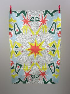 SOLD - Starburst tea towel by Manymakepeaces on Etsy, $30.00 plus postage