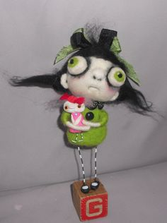 green ghost girl and her dolly needle felted by papermoongallery