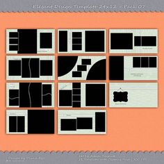 24x12 Photo Album Template Pack, 11 Templates, Photo Collage, Yearbook Templates, Photoshop Templates, Photo Template, Scrapbook Templates